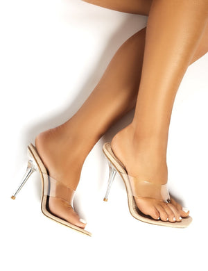 Shade Nude Suede Perspex Toe Post Heeled Mules