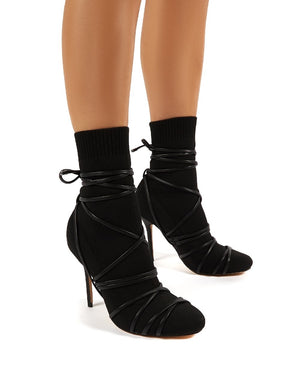 Tamana Black Knitted Heeled Sock Fit Ankle Boots