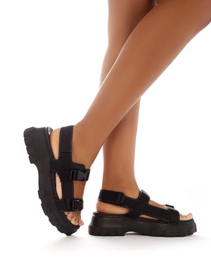 Undeniable Chunky Sports Sandals in Black PU