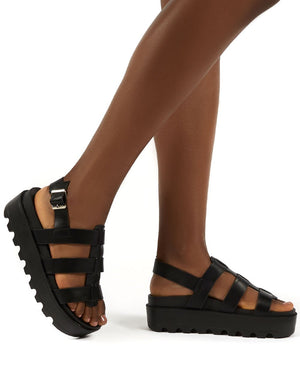 Coco Black PU Triple Strap Platform Sandals