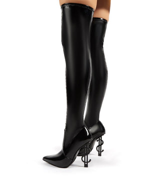Millionaire Black Vinyl Statement Heel Over the Knee Boots