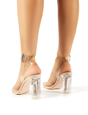 Talk Wide Fit Nude Patent Perspex Block Heels
