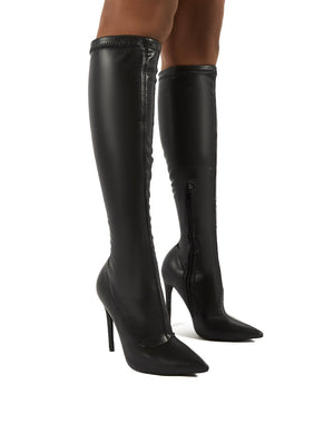 Ambition Black PU Knee High Stiletto Heel Boots