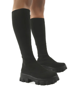 Future Black Knit Chunky Sole Knee High Boots