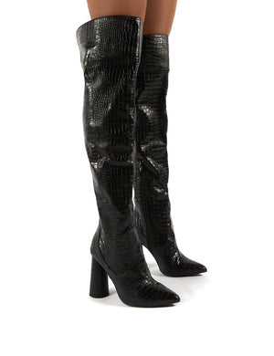 Hometown Black Croc Over The Knee Heeled Boots