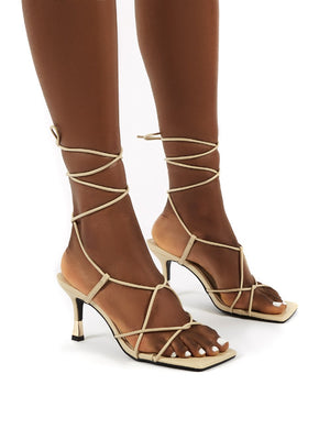 Orion Nude Lace Up Ankle Square Toe Kitten Heels