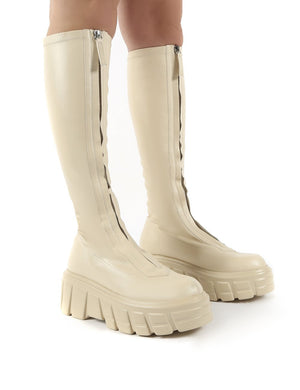 Quest Ecru Zip Up Chunky Sole Knee High Boots