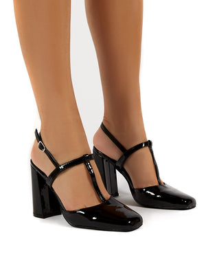 Romy Black Patent Closed Toe Block Heels