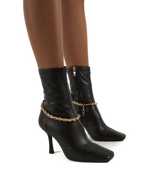Sacci Black Wide Fit Chain Detail Square Toe Stiletto Heel Ankle Boots