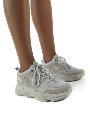 Chase Grey Wide Fit Chunky Sole Trainers