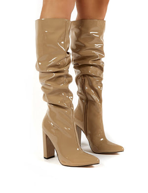 Yours Camel Patent Heeled Knee High Block Boots