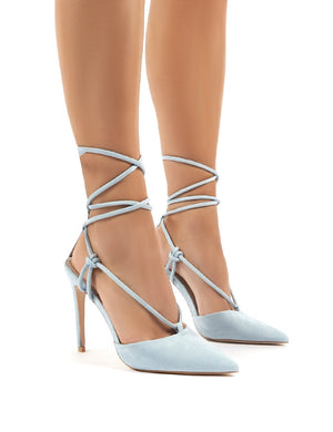 Bardot Blue Strappy Lace Up High Heel