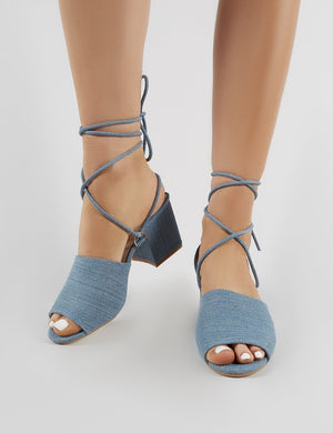 Paddington Lace Up Block Heeled Mules in Denim