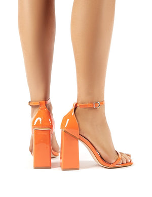 Anna Orange Patent Square Block Heel Barely Theres
