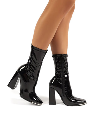 Lyza Black Vinyl Block Heeled Sock Fit Ankle Boots