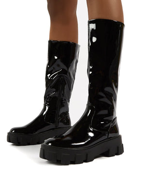 Karma Black Chunky Sole Knee High Boots