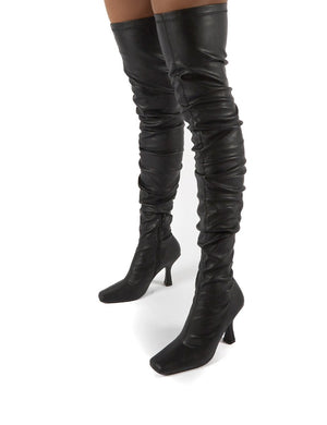 Outlaw Black Ruched Over The Knee Heeled Boots