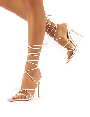 Carmen White and Perspex Lace Up Stiletto High Heels
