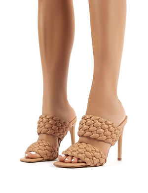 India Nude PU Stiletto Heeled Mules
