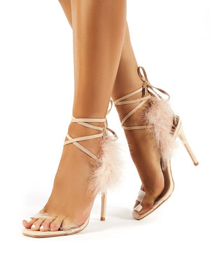 Desiree Nude Feather Lace Up Stiletto Heels