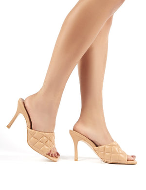 Bossy Nude PU Quilted Heeled Mules