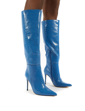 Aimi Blue Croc Knee High Stiletto Heel Boots
