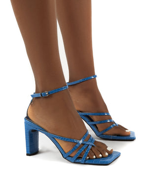 Charms Blue Square Toe Strappy Detail Block Heels