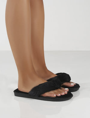 Cuddle Black Thong Strap Faux Fur Slippers