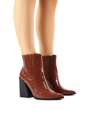 Brianna Tan Croc Block Heeled Pointed Ankle Boots