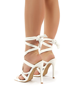 Convo White PU Knotted Lace Up Stiletto High Heels