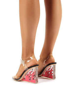 Hot AF Black and Pink Flame Detail Perspex Heeled Wedges