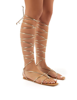 Natalia Rose Gold PU Lace Up Flat Sandals