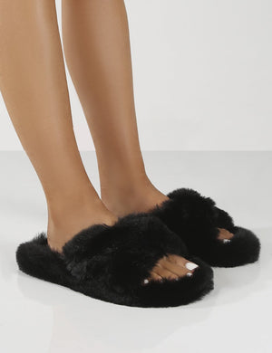 Fluffy Black Faux Fur Cross Over Slipper