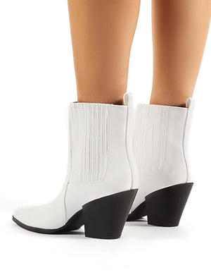 Hazy White Block Heeled Ankle Boots