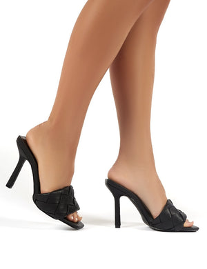 Leila Black Woven Square Toe Heeled Mules