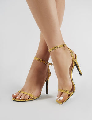 Notion Squared Toe Barely There Heels in Mustard Snake Print