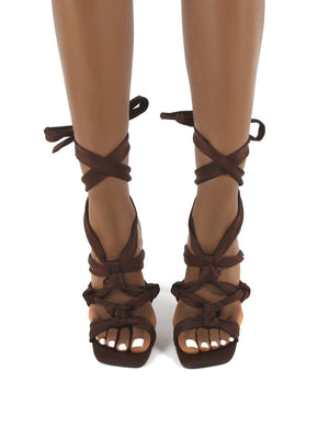 Convo Chocolate Knotted Lace Up Stiletto High Heels