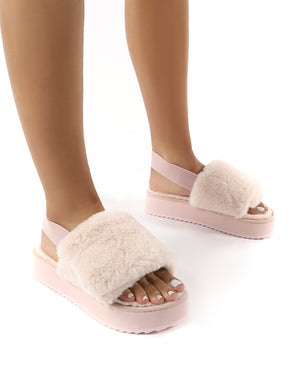 Funky Light Pink Platform Chunky Sole Velcro Strap Slippers