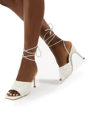 Missy White PU Lace Up Quilted Square Toe Heels