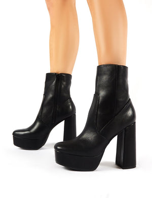 Diversion Black PU Block Heeled Platform Ankle Boots