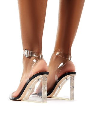 Lati Black Patent Perspex Wedge Barely Theres