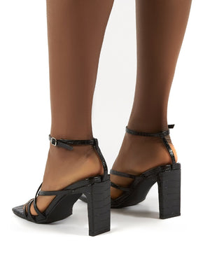 Charms Black Croc Square Toe Strappy Detail Block Heels