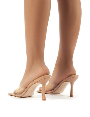 Harlow Nude PU and Perspex Heeled Mules
