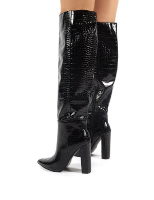 Indigo Black Croc Block Heeled Knee High Boots