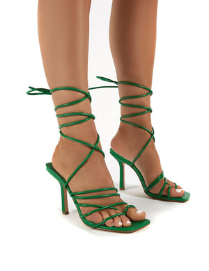 Haute Green Square Toe Strappy Lace Up Heels