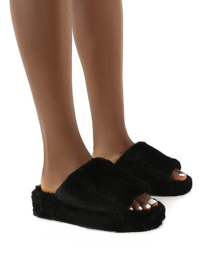 Snoozie Black Faux Fur Chunky Platform Sole Sliders