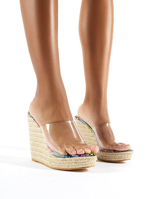 Pacha Espadrille Wedge Heeled Mules in Snake Print