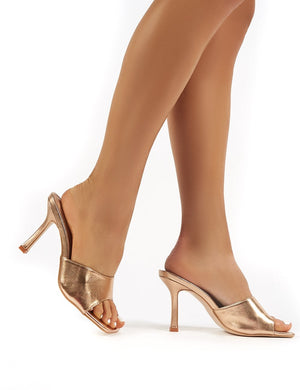Harlow Wide Fit Rose Gold PU Heeled Mules