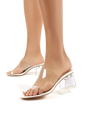 Aries White Perspex Barely There Block Heeled Mules