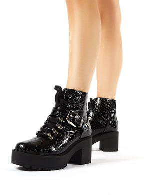 Attitude Black Patent Croc Chunky Sole Heeled Ankle Boots